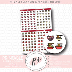 Ramen Noodles Bujo Icon Digital Printable Planner Stickers