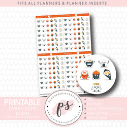 Kawaii Sushi Bujo Emoticon Icon Digital Printable Planner Stickers