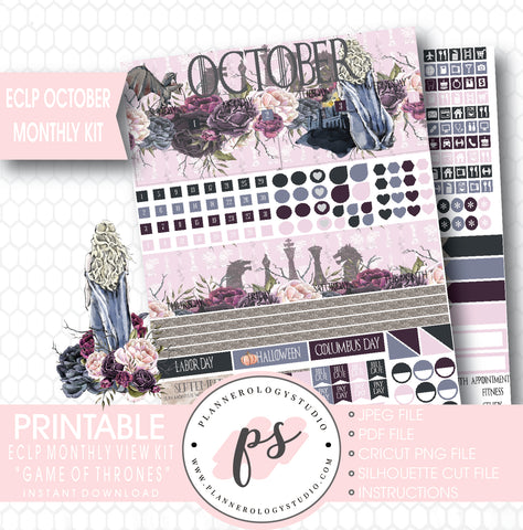 Game of Thrones (GOT) October 2017 Monthly View Kit Printable Planner Stickers (for use with ECLP) - Plannerologystudio