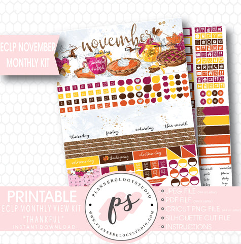 Thankful Thanksgiving November 2017 Monthly View Kit Printable Planner Stickers (for use with ECLP) - Plannerologystudio