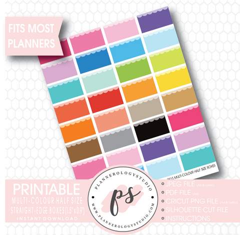 Multi-Colour Half Size Straight Edge Boxes Printable Planner Stickers - Plannerologystudio