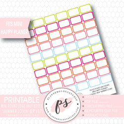 """Summer Lovin"" Mini Round Edge Half Boxes Printable Planner Stickers (for Mini Happy Planner Monthly View) - Plannerologystudio"