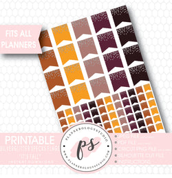 """It's Fall"" Silver Glitter Specks Flags Printable Planner Stickers - Plannerologystudio"