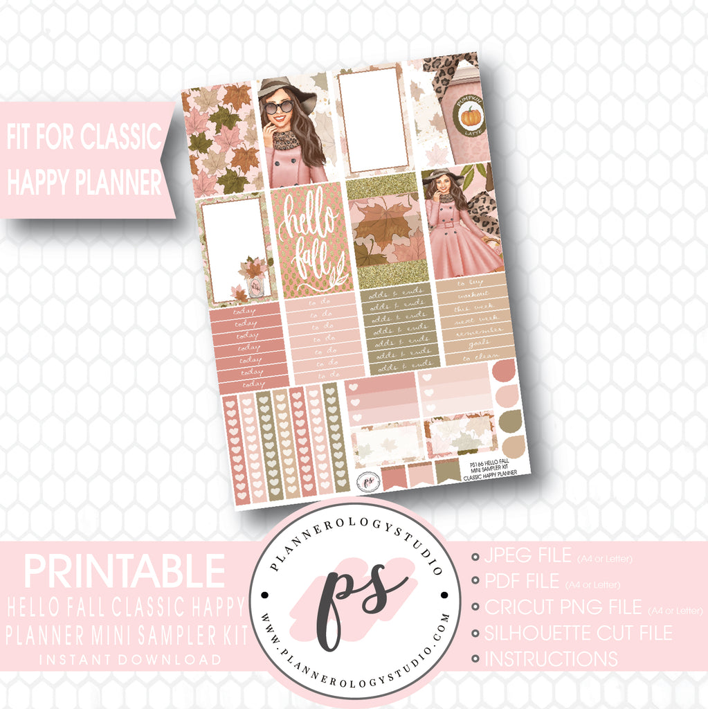 Hello Fall Mini Sampler Kit Printable Planner Stickers (for use with  Classic Happy Planner)