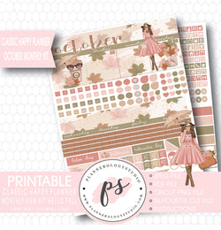 """Hello Fall"" October 2017 Monthly View Kit Printable Planner Stickers (for use with Classic Happy Planner) - Plannerologystudio"