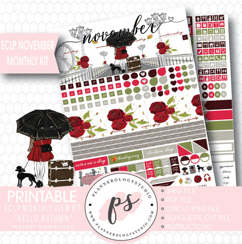 Hello Autumn (Fall) November 2017 Monthly View Kit Printable Planner Stickers (for use with ECLP) - Plannerologystudio
