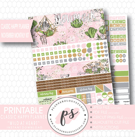 Wild at Heart Cactus November 2017 Monthly View Kit Printable Planner Stickers (for use with Classic Happy Planner) - Plannerologystudio