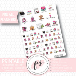 Christmas Holiday To Do & Bucket List Icons Printable Planner Stickers - Plannerologystudio