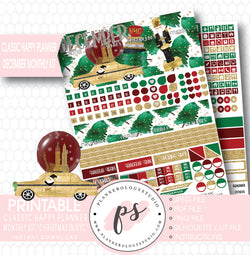 Christmas in NYC December 2017 Monthly View Kit Printable Planner Stickers (for use with Classic Happy Planner) - Plannerologystudio