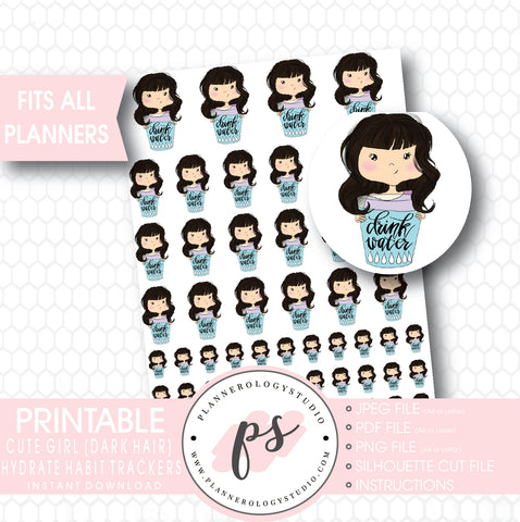 Cute Girl (Dark Hair/Brunette) Hydrate Water Habit Tracker Printable Planner Stickers - Plannerologystudio