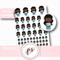 Cute Girl (Dark Skin Tone) Hydrate Water Habit Tracker Printable Planner Stickers - Plannerologystudio