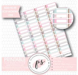 """Ballerina"" Rose Gold & Silver Glitter Trim Monthly View Quarter Boxes Printable Planner Stickers (for use with ECLP) - Plannerologystudio"