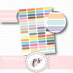 Multi Color Stitched Scallop Quarter Boxes Printable Planner Stickers - Plannerologystudio