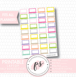Multi Color Laptop Half Boxes Printable Planner Stickers - Plannerologystudio