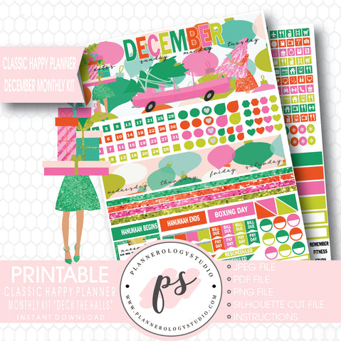 Deck the Halls Christmas 2017 December Monthly View Kit Printable Planner Stickers (for use with Classic Happy Planner) - Plannerologystudio