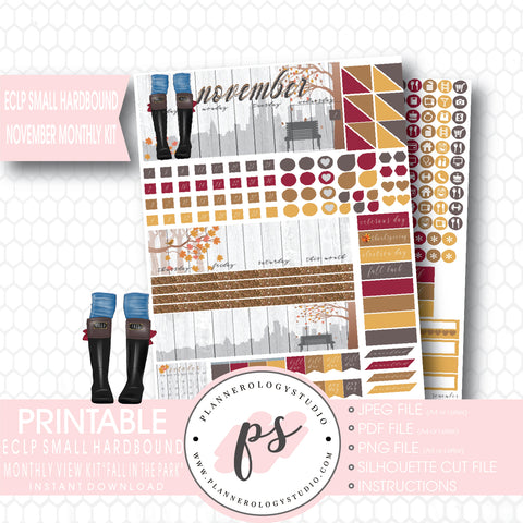 Fall in the Park November 2017 Monthly View Kit Printable Planner Stickers (for use with ECLP Small Hardbound) - Plannerologystudio