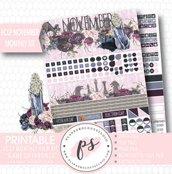 Game of Thrones (GOT) November 2017 Monthly View Kit Printable Planner Stickers (for use with ECLP) - Plannerologystudio