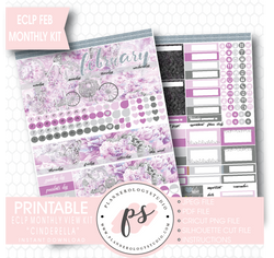 """Cinderella"" February 2017 Monthly View Kit Printable Planner Stickers (for use with ECLP) - Plannerologystudio"