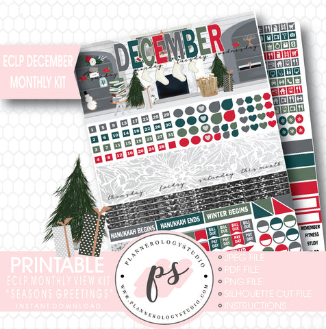 Seasons Greetings Christmas December Monthly View Kit Printable Planner Stickers (for use with ECLP) - Plannerologystudio