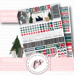 Seasons Greetings Christmas December Monthly View Kit Printable Planner Stickers (for use with Classic Happy Planner) - Plannerologystudio