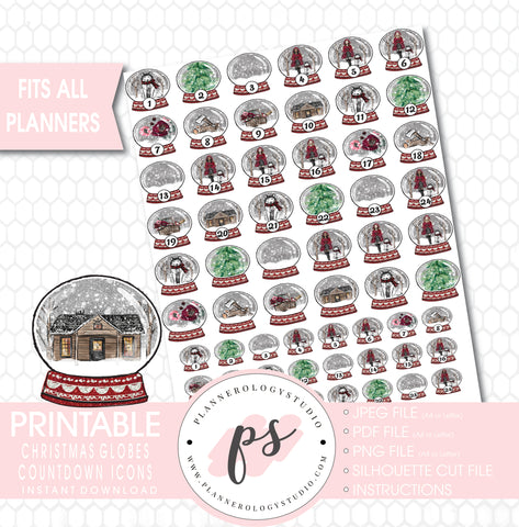 24 Day Christmas Globes Countdown Icons Printable Planner Stickers - Plannerologystudio