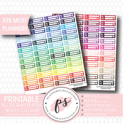 Multi-Colour Bill Due Quarter Boxes Printable Planner Stickers - Plannerologystudio