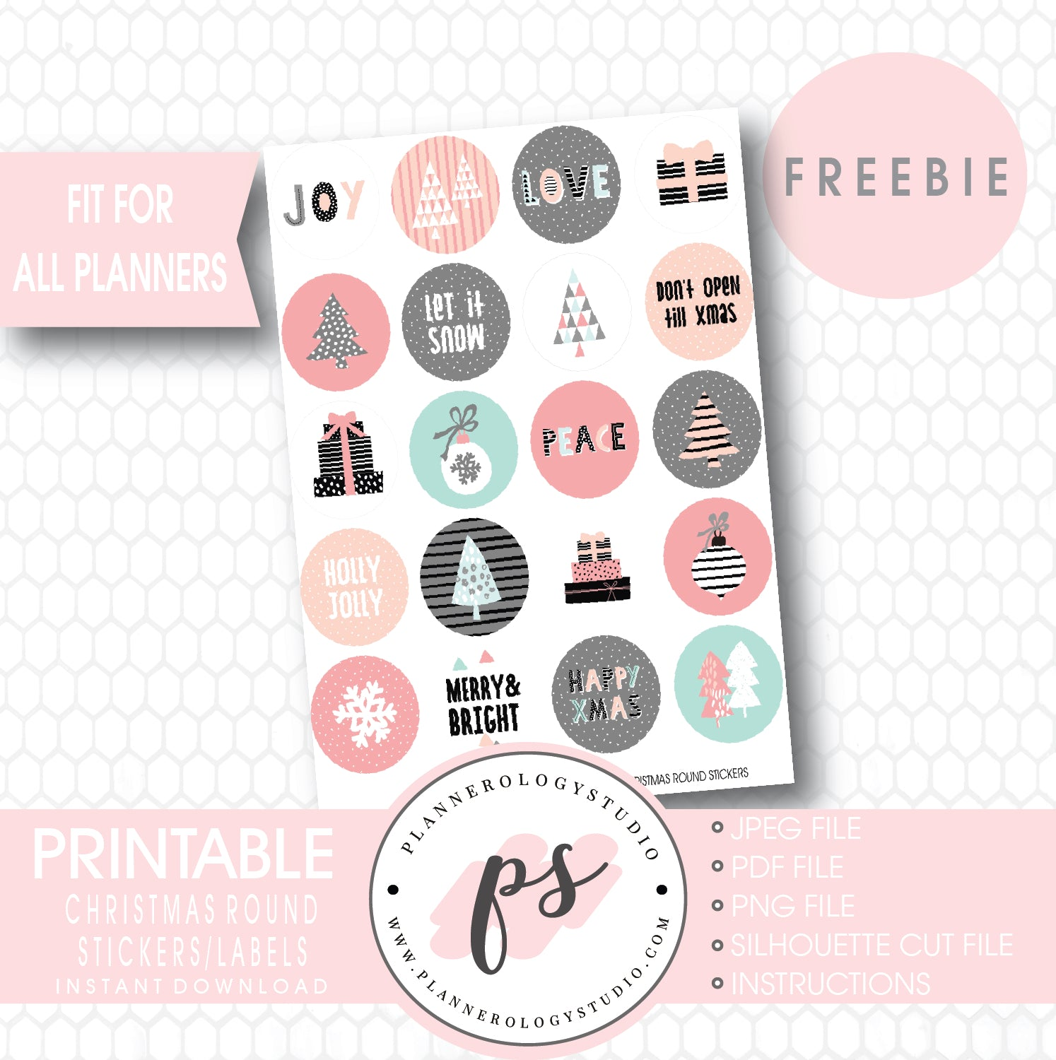 photo relating to Printable Circle Stickers called Xmas Spherical Labels/Printable Planner Stickers (PDF/JPG