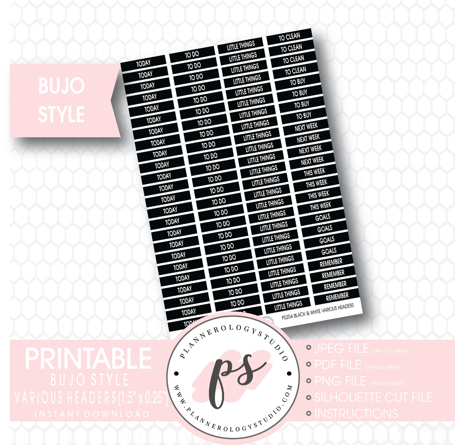 picture relating to Bullet Journal Stickers Printable titled Black White Impartial Headers (At present, Toward Do, and so on) Bullet Magazine Bujo Printable Planner Stickers