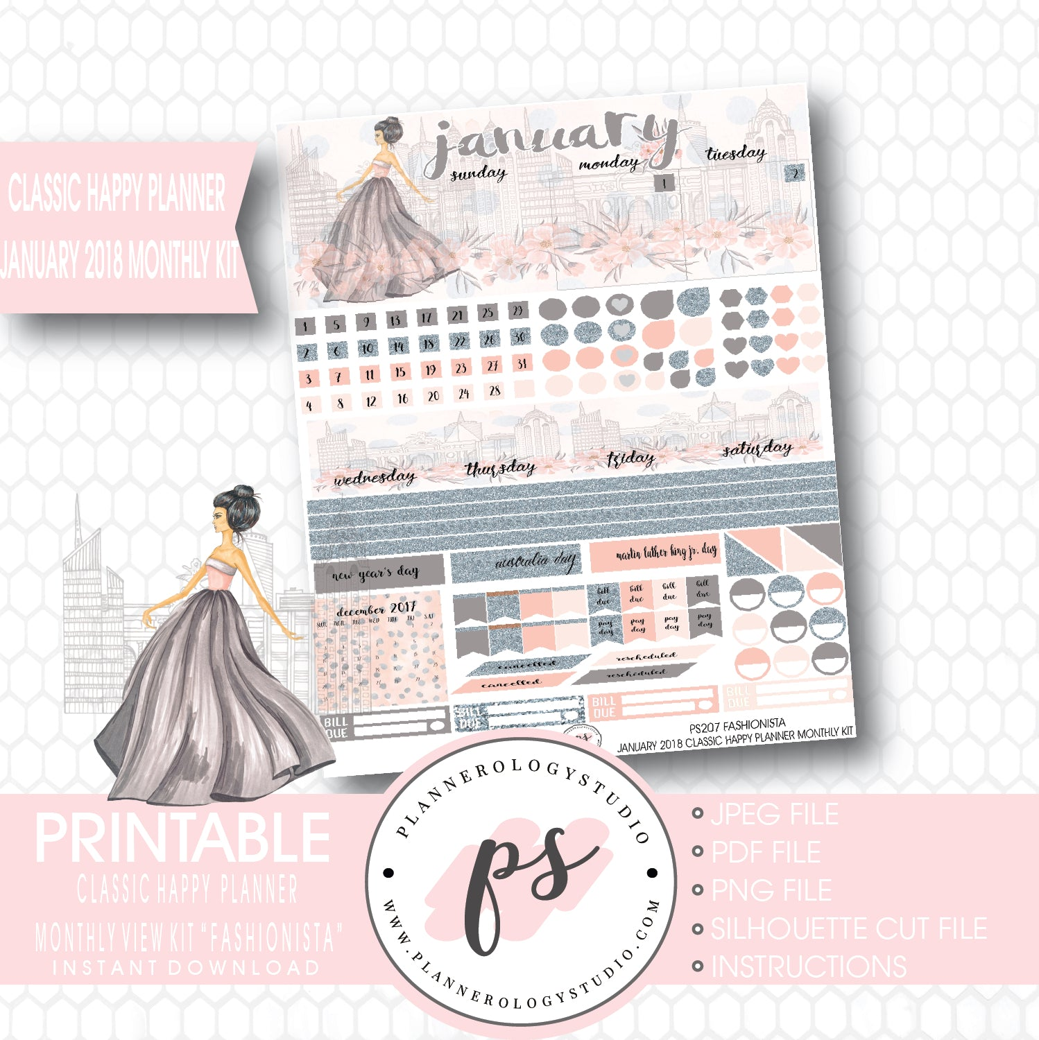 graphic relating to Happy Planner Free Printable Stickers titled Fashionista January 2018 Regular Look at Package Printable Planner