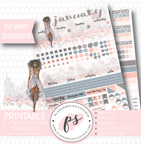 Fashionista (Dark Skin Tone) January 2018 Monthly View Kit Printable Planner Stickers (for use with ECLP) - Plannerologystudio