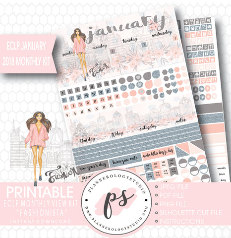 Fashionista January 2018 Monthly View Kit Printable Planner Stickers (for use with ECLP) - Plannerologystudio