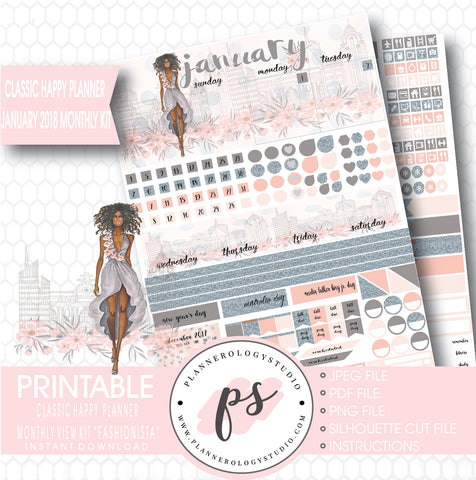 Fashionista (Dark Skin Tone) January 2018 Monthly View Kit Printable Planner Stickers (for use with Classic Happy Planner) - Plannerologystudio