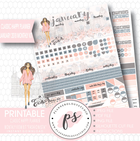 Fashionista January 2018 Monthly View Kit Printable Planner Stickers (for use with Classic Happy Planner) - Plannerologystudio