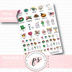 Various Holiday & Public Holiday Icons Printable Planner Stickers - Plannerologystudio