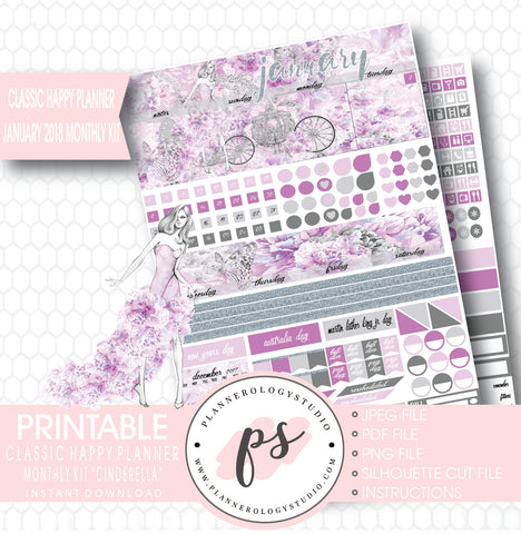 Cinderella January 2018 Monthly View Kit Printable Planner Stickers (for use with Classic Happy Planner) - Plannerologystudio