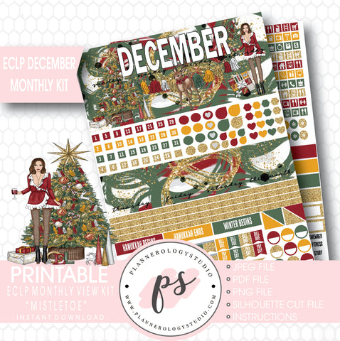Mistletoe Christmas December 2017 Monthly View Kit Printable Planner Stickers (for use with ECLP) - Plannerologystudio