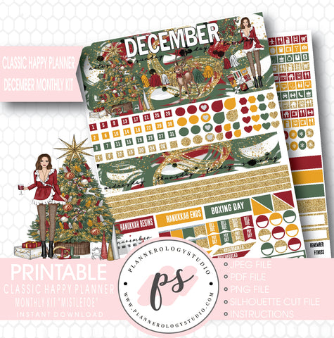 Mistletoe Christmas December 2017 Monthly View Kit Printable Planner Stickers (for use with Classic Happy Planner) - Plannerologystudio