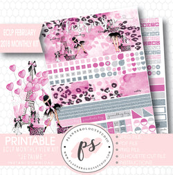 Je T'aime Valentine's Day February 2018 Monthly View Kit Printable Planner Stickers (for use with ECLP) - Plannerologystudio