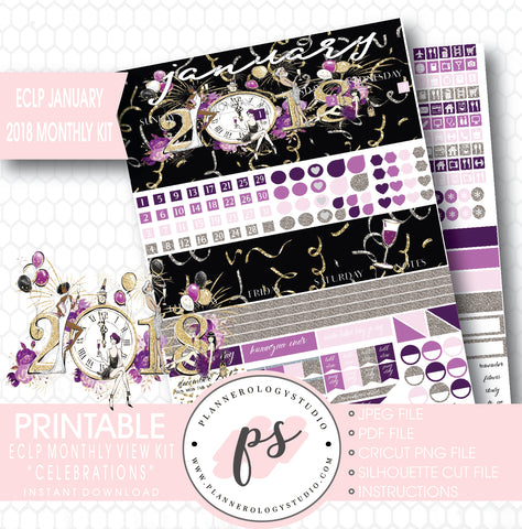 Celebrations New Year's January 2018 Monthly View Kit Printable Planner Stickers (for use with ECLP) - Plannerologystudio