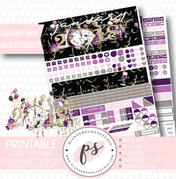 Celebrations New Year's January 2018 Monthly View Kit Printable Planner Stickers (for use with Classic Happy Planner) - Plannerologystudio