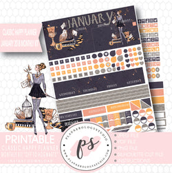 Off to Hogwarts (Harry Potter Theme) January 2018 Monthly View Kit Printable Planner Stickers (for use with Classic Happy Planner) - Plannerologystudio