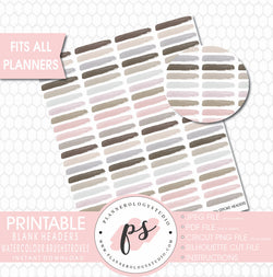 Watercolour Brushstrokes Blank Headers Printable Planner Stickers - Plannerologystudio