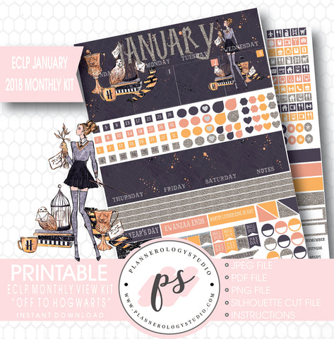 Off to Hogwarts (Harry Potter Theme) January 2018 Monthly View Kit Printable Planner Stickers (for use with ECLP) - Plannerologystudio