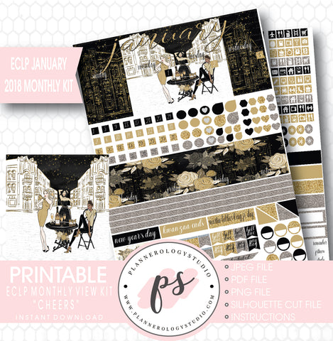 Cheers New Year's January 2018 Monthly View Kit Printable Planner Stickers (for use with ECLP) - Plannerologystudio