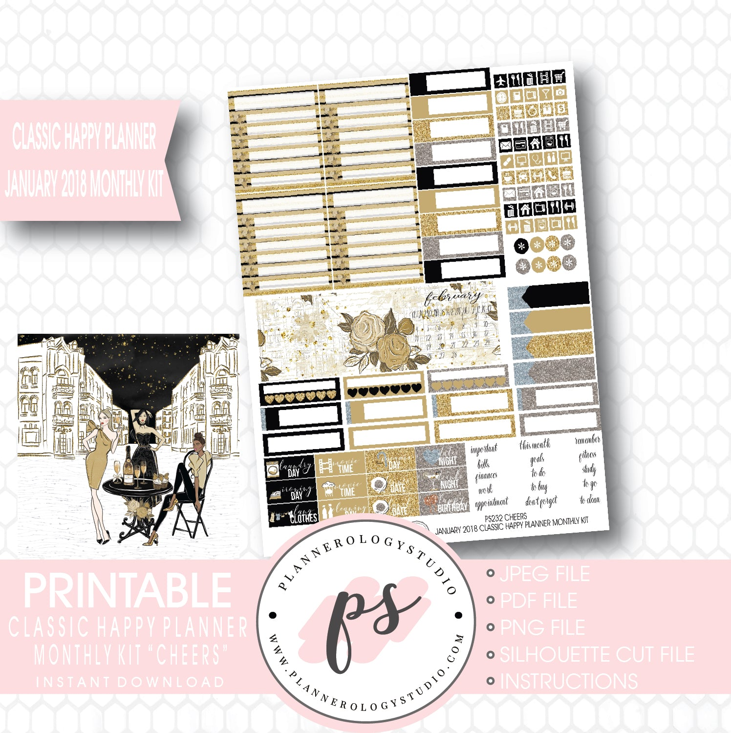 cheers new years january 2018 monthly view kit printable planner stickers for use with classic