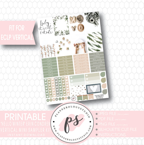 Hello Winter Mini Sampler Kit Printable Planner Stickers (for use with ECLP Vertical) - Plannerologystudio