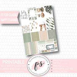 Hello Winter Mini Sampler Kit Printable Planner Stickers (for use with Classic Happy Planner) - Plannerologystudio