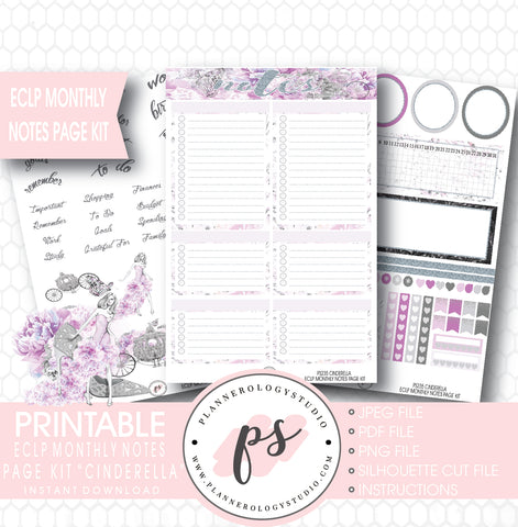 Cinderella Monthly Notes Page Kit Printable Planner Stickers (for use with ECLP) - Plannerologystudio