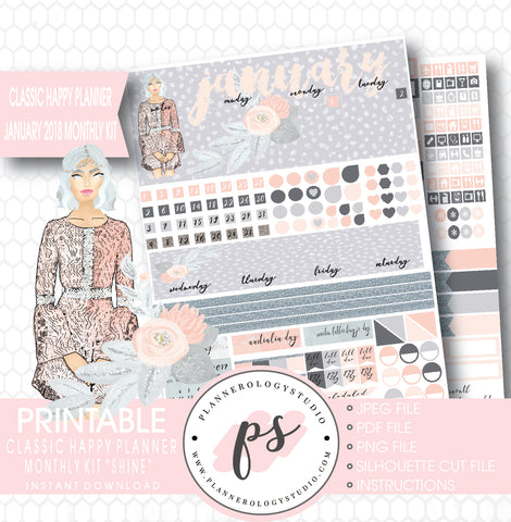 Shine January 2018 Monthly View Kit Printable Planner Stickers (for use with Classic Happy Planner) - Plannerologystudio