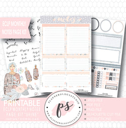 Shine Monthly Notes Page Kit Printable Planner Stickers (for use with ECLP) - Plannerologystudio